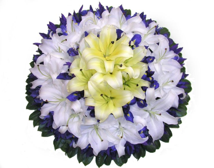 Wreath with lillies and iris
