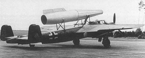Dornier Do 217E-2 employed to test a Säger ramjet with a 39.37-in. diameter combustion chamber during the summer of 1944. Thirty-two flight tests were conducted with this unit.