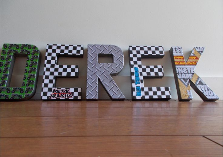These letters are for Derek's Monster Jam themed bday party Letters by: prettywordsbyshannon on etsy