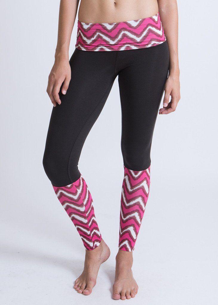 Socksies Yoga Leggings in Mexican Pink Ikat print. WE'AR classic yoga pants.