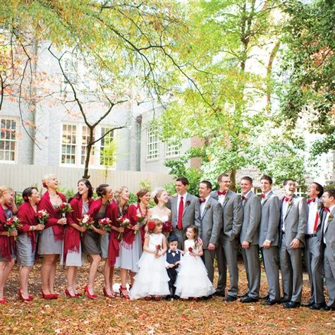 Red and Gray Bridal Party Attire- I really like this idea for a winter wedding.