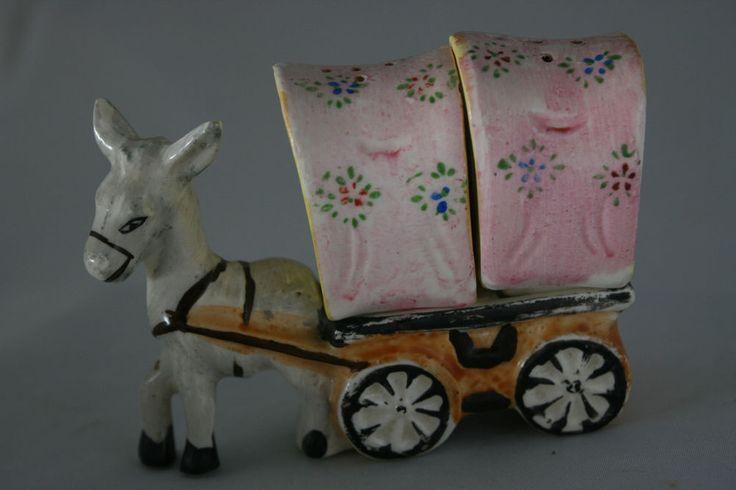 Vntg Donkey Mule Wagon Salt Pepper Shaker Ceramic Handpainted Japan
