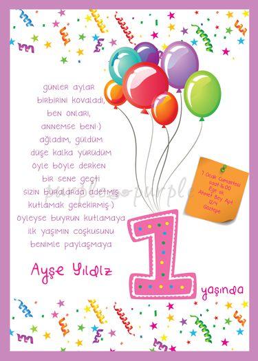Balonlu ve konfetili 1 yas doğum günü davetiyesi
