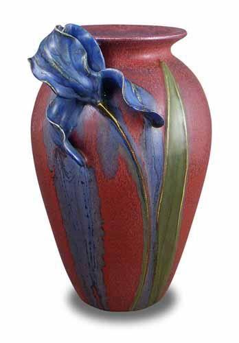 Ephraim Faience Pottery - Springtime Iris Vase