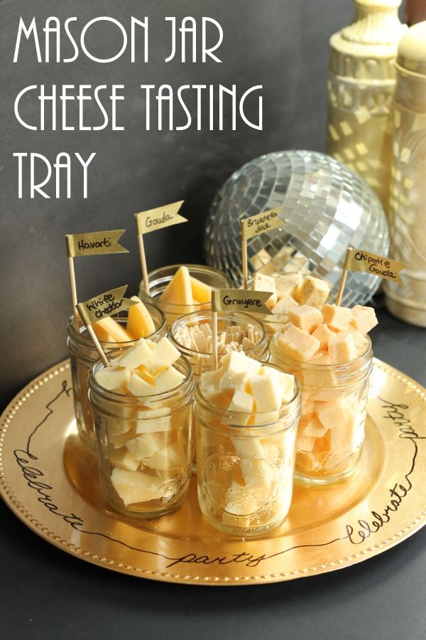 See how to make this fun mason jar cheese tasting tray for your next party!