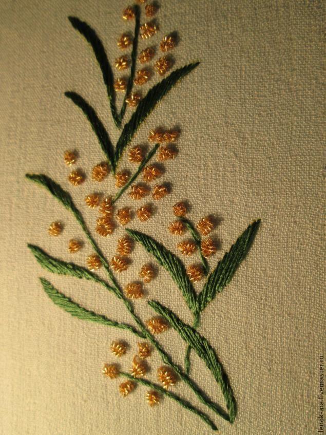 Несмотря на свое советское прошлое, мимоза осталась нежным и душистым цветком, символом весны и радости. Вышивают ее обычно узелками. Попробуем вышить цветок с помощью другого материала -канители. Для работы нам нужно: ткань, копировальная бумага, шелковые нитки зеленого и желтого цвета, золотая канитель, иголка, ножницы. Переводим рисунок на ткань. Когда в …