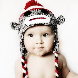 sock monkey hatChild Cotton, Sock Monkeys, Crochet Baby Hats, Crochet Hats, Baby Socks, Classic Socks, Socks Monkeys Hats, Cotton Crochet, Pom Pom