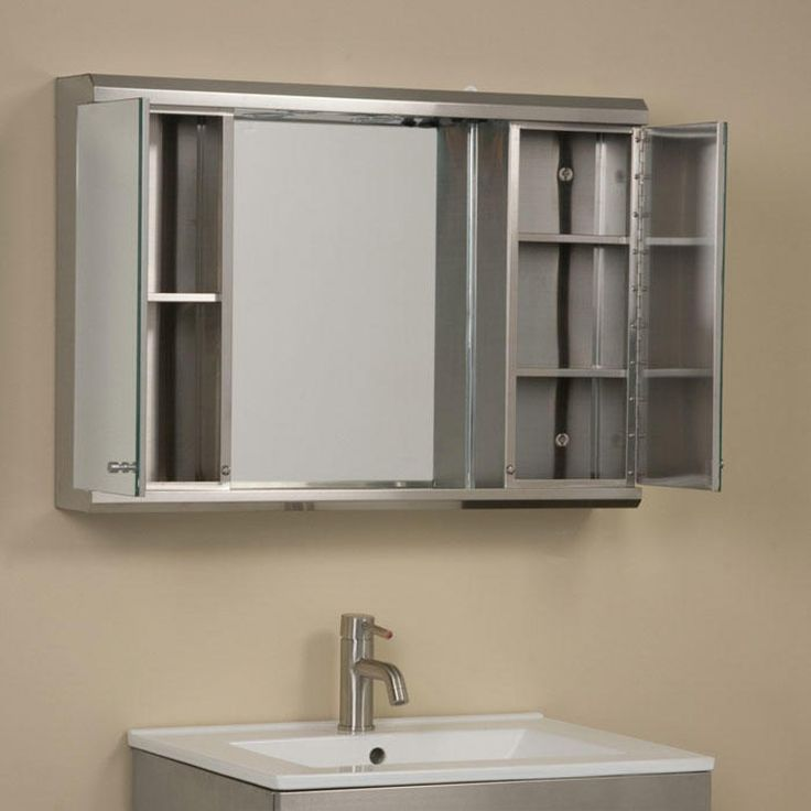 illumine dual stainless steel medicine cabinet with lighted mirror