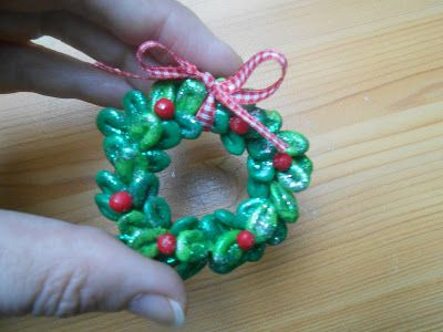 Mini couronne de buis de Noel en Fimo