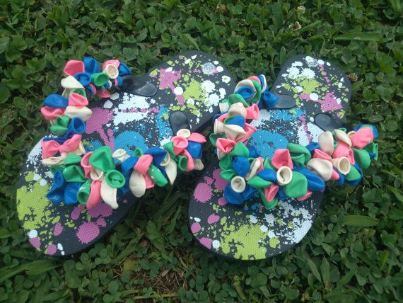 Balloon Decorated Children Flip Flops Colorful by 2Crafty4You, $8.95