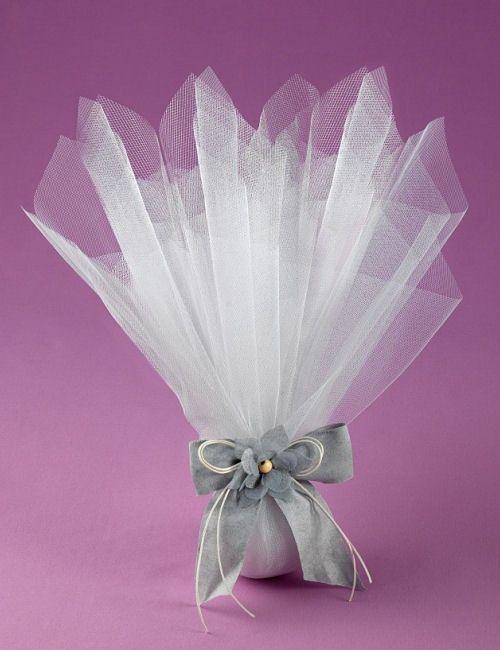 Μπομπονιέρα Γάμου με Τούλι Γαλλικό και Διακοσμητικό Λουλούδι