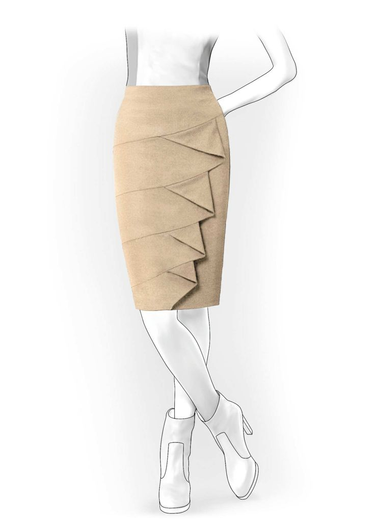 Skirt With Flounces - Sewing Pattern #4069. Made-to-measure sewing pattern from Lekala with free online download.