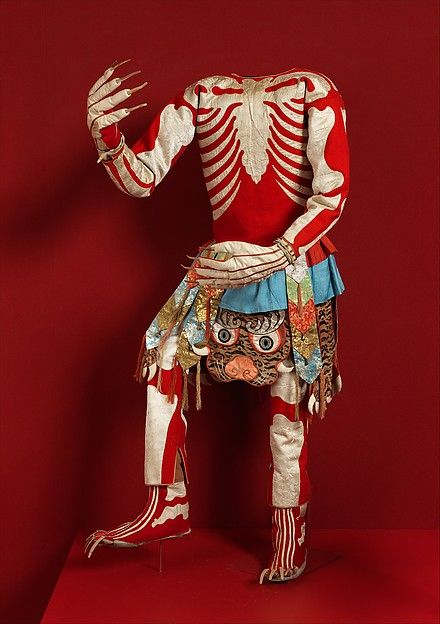 "Skeleton Dance Costume, late 19th or early 20th century. Tibet. The Metropolitan Museum of Art, New York. Gift of Mrs. Edward A. Nis, 1934 (34.80.3a–h) | This work is featured in our ""Sacred Traditions of the Himalayas"" exhibition, on view through June 14, 2015 #SacredTraditions"