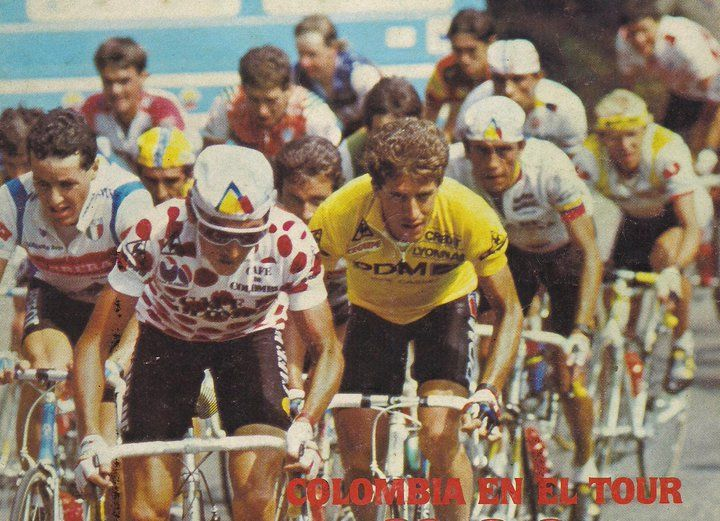 Tour de France 1987 Lucho Herrera, Fabio Parra, Pedro Delgado, Laurent Fignon and Stephen Roche