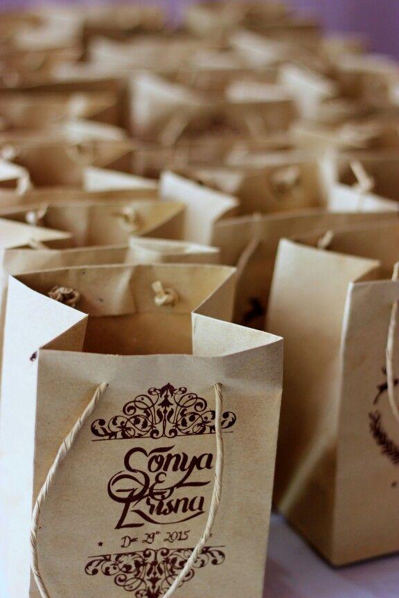 Our wedding souvenir. A rustic canvas tote bag.
