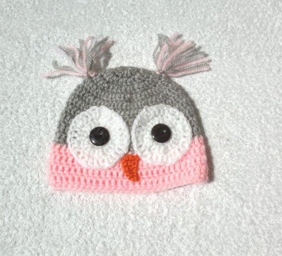 Baby owl hat crochet animal hat baby hat kids by KnitterPrincess, $14.50