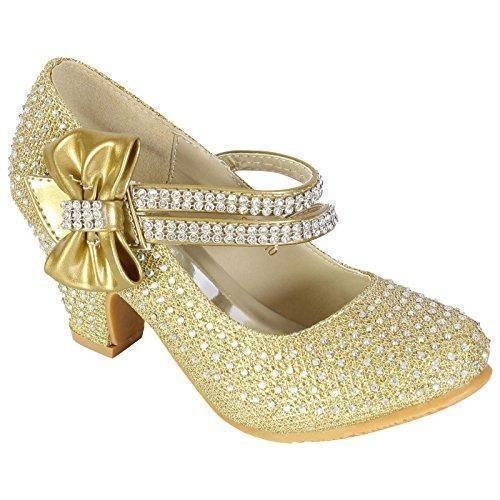 Oferta: 18.55€. Comprar Ofertas de MyShoeStore - Zapatos de boda para niña, con diamantes de imitación, estilo Mary Jane, de tacón bajo, color plateado, talla 3 barato. ¡Mira las ofertas!