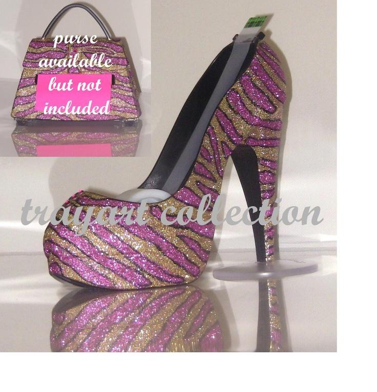 Pink Gold Zebra High Heel Shoe TAPE DISPENSER Stiletto Platform   Office  Supplies   Trayart Collection