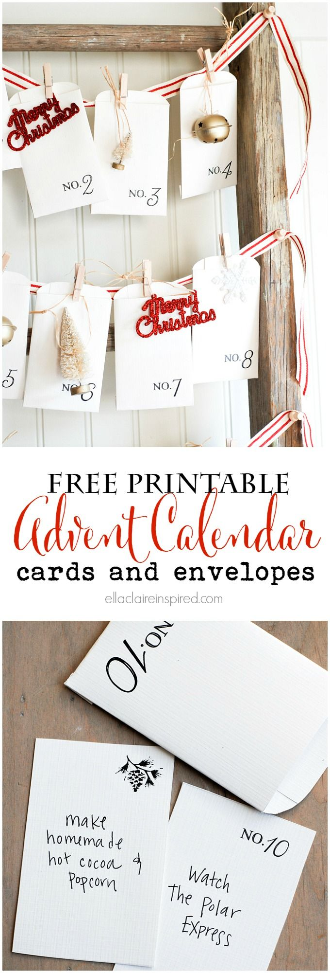 Free Printable Vintage-Inspired Advent Calendar  cards and envelopes. I love vintage Christmas! by Ella Claire | See more about Advent Calendar, Advent and Calendar.