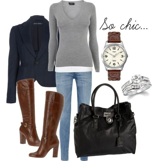 Who knew that blue, brown, black, and gray could all go together in one outfit!