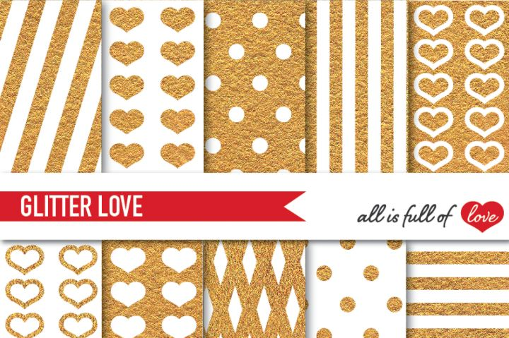 Golden Glitter Digital Paper Pack Gold background By All is full of love