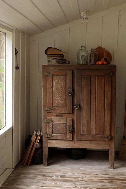 Three Door Wood Ice Box