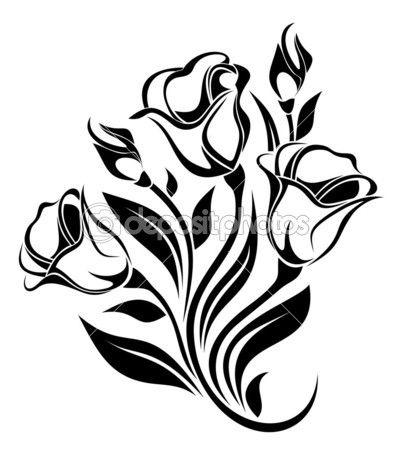 Černá silueta květiny Ornament. vektorové ilustrace — Stocková ilustrace #20136899