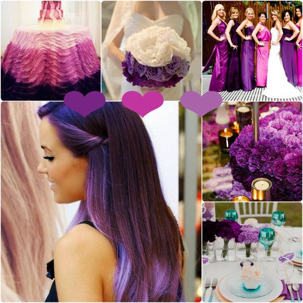 Lila Ombre Hochzeitsidee: Ideas Boards, Wedding Ideas, Purple Wedding, Crazy Haircolor, Pastel Hair
