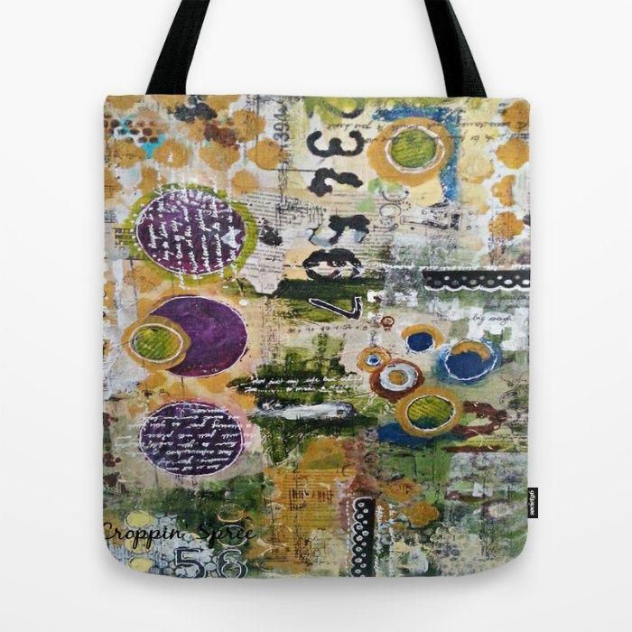 Mixed Media Art. Numbers, Circles & Words. Purpose Art. Deep Plum, Yellow, Greens and Blues Tote Bag