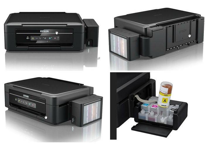 Epson Eco Tank Printers Without Ink Cartridges Launch In The UK. The L355 offers a low-cost per page for both black and colour printing, with each set of high-volume ink bottles capable of printing up to 4,000 pages in black and 6,500 pages in colour*1.