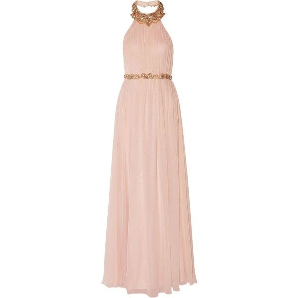 MARCHESA NOTTE   Pleated embellished silk-chiffon halterneck gown ($635) ❤ liked on Polyvore featuring dresses, gowns, floral gown, pink floral dress, halter top, pink ball gown and pink dress