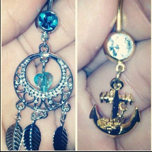 the only two belly button rings i have ever wanted. dream catcher and anchor <3
