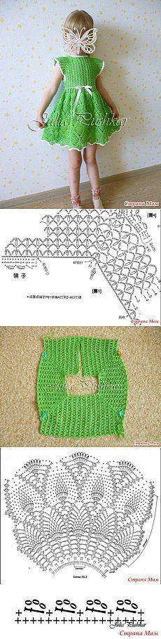 *Платье для девочки крючком - Вязание для детей - Страна Мам