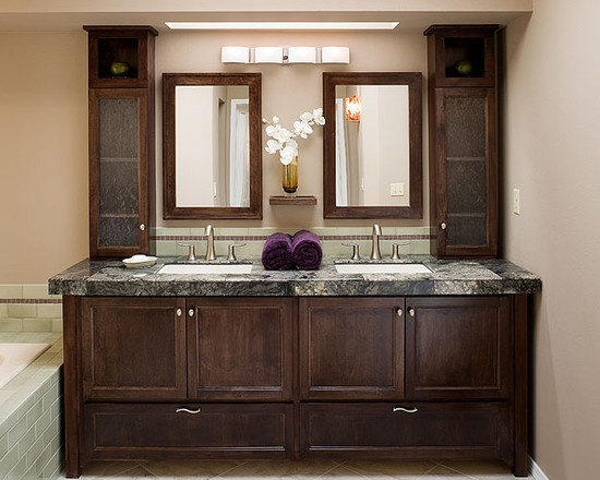 Photo Album Gallery Possibly with a column of cabinets in the middle down below Another vanity idea Bathroom Vanity Ideas Beneath