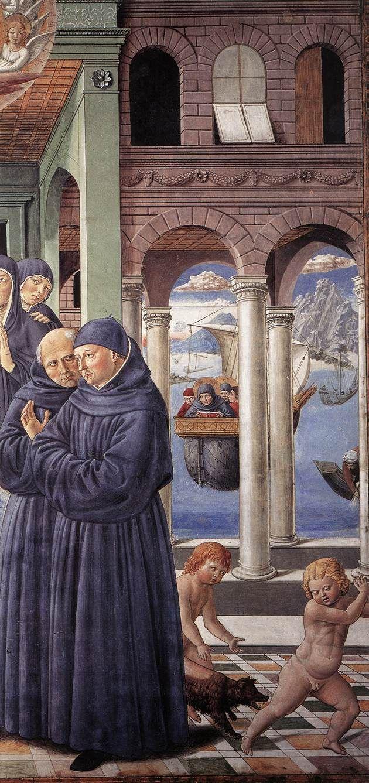 ❤ - BENOZZO GOZZOLI (1421 - 1497) - Death of St. Monica (detail). 1464-65. Fresco, 220 x 230 cm. Apsidal Chapel of Sant' Agostino, San Gimignano, Italy.