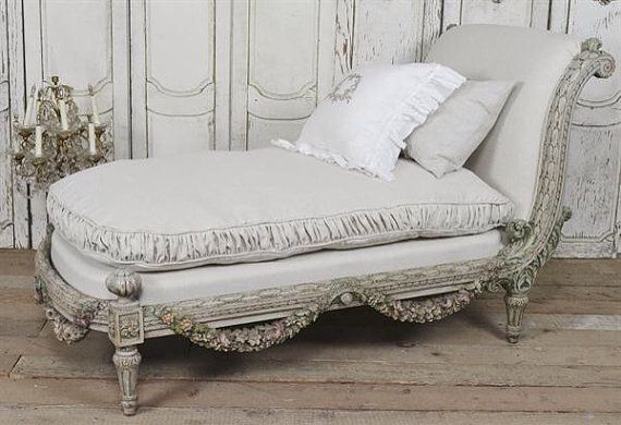 Antique french rose swag chaise lounge by fullbloomcottage for Antique french chaise lounge