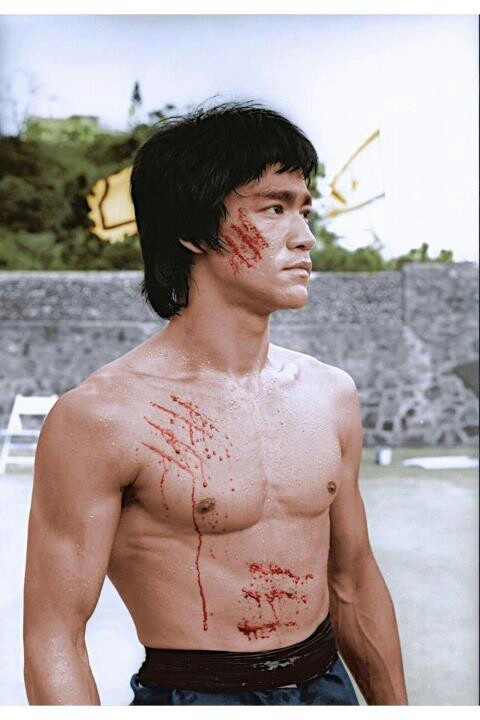 Bruce Lee on the set of Enter the Dragon