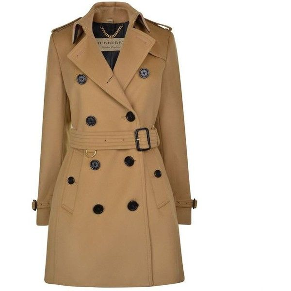 Burberry London Kensington Mid Length Wool Trench Coat ($1,425) ❤ liked on Polyvore featuring outerwear, coats, camel, brown coat, double breasted trench coat, trench coat, slim trench coat and slim fit trench coat