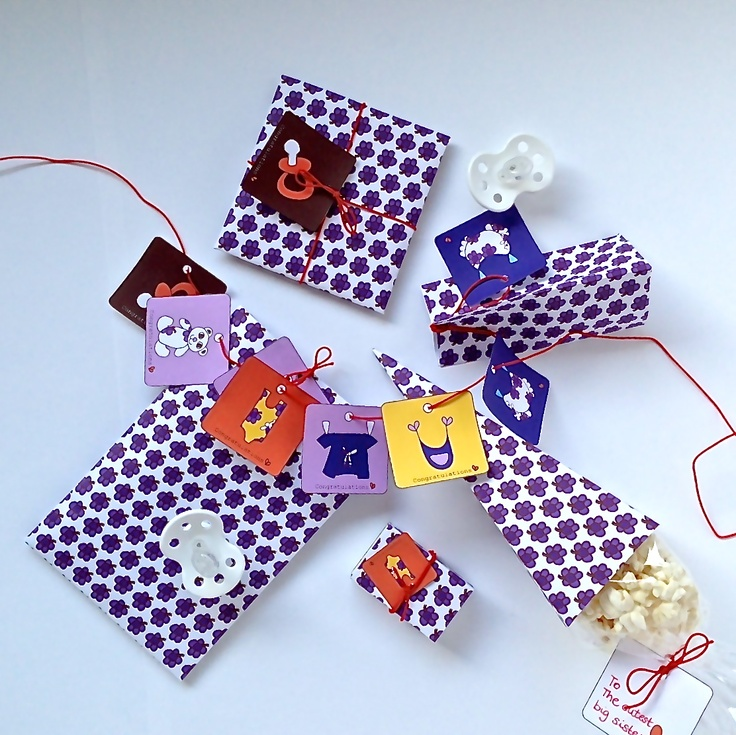 Gift tags and paper in great design for a new baby.
