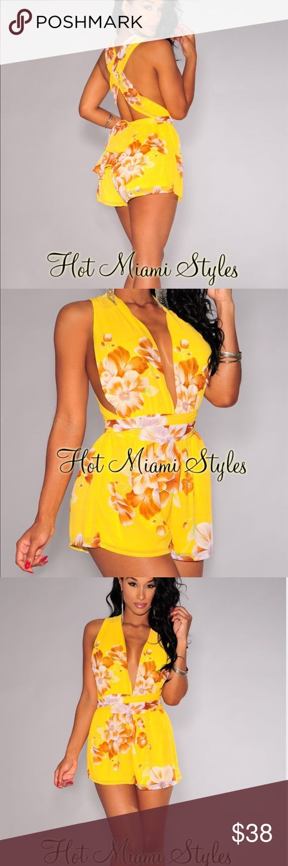 Hot Miami Styles yellow floral romper nwt m Brand new and sold out on site. Multi-way ties and adjustable fit. Perfect condition hot miami styles Dresses Mini