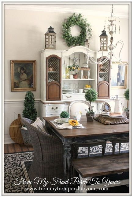 Wreath And Candles Above China Cabinet French Farmhouse DecorFrench Country Dining RoomFrench
