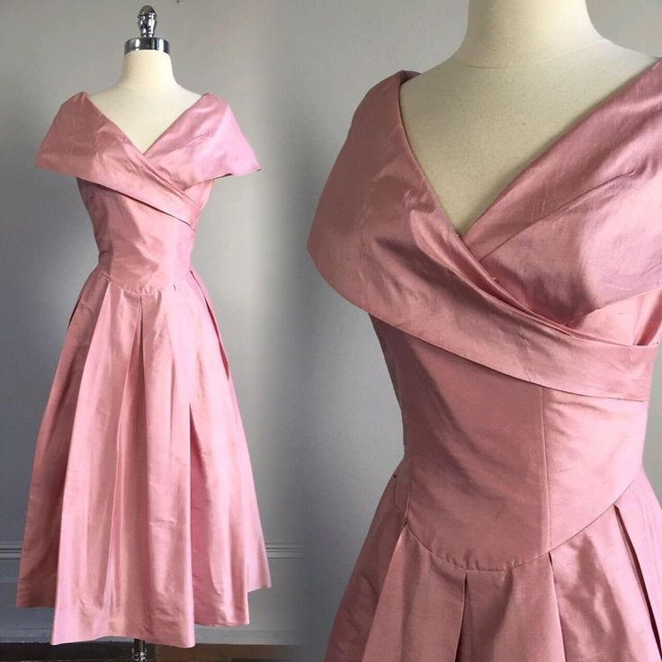 vtg Laura Ashley 50s Pale Pink Dress cocktail garden party retro sz 4 S easter #LauraAshley #TeaDress #Cocktail