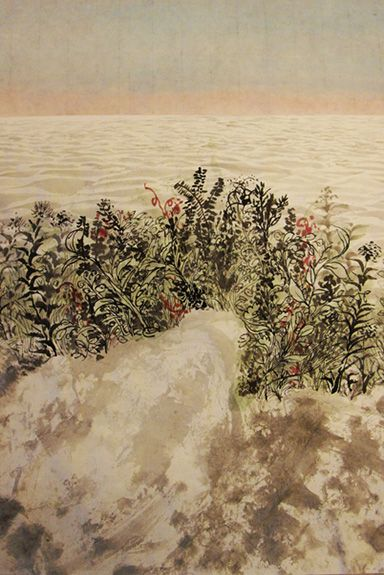 Hsiuhsuan-Huang - Wild plants on the artificial island brush work, ink on rice paper