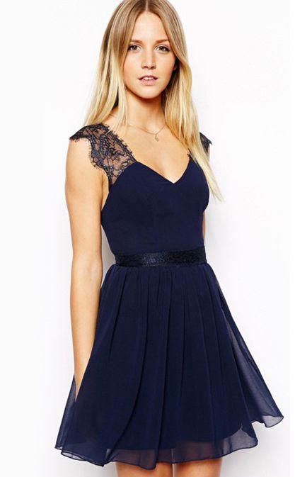 Blue Contrast Lace Backless Chiffon Dress - Fashion Clothing, Latest Street Fashion At Abaday.com