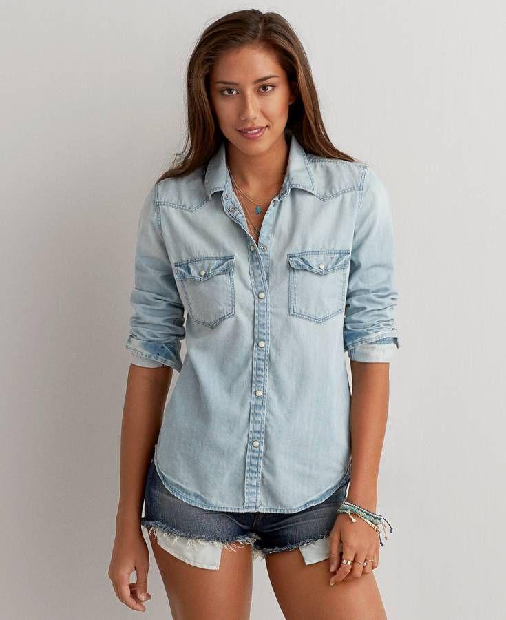 American Eagle Western Denim Shirt, Women's, Medium Wash