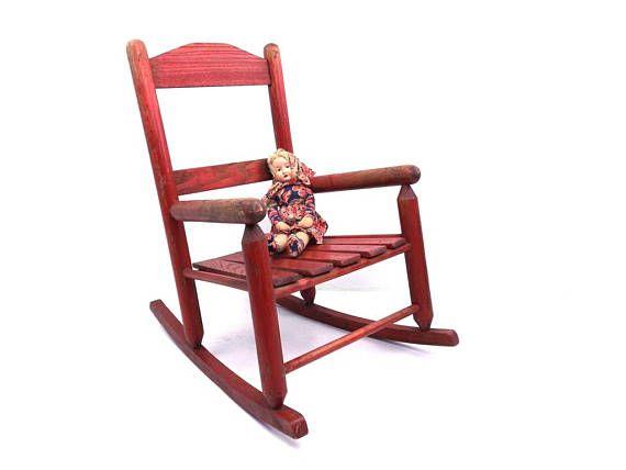 vintage 40s 50s red rocking chair antique children's
