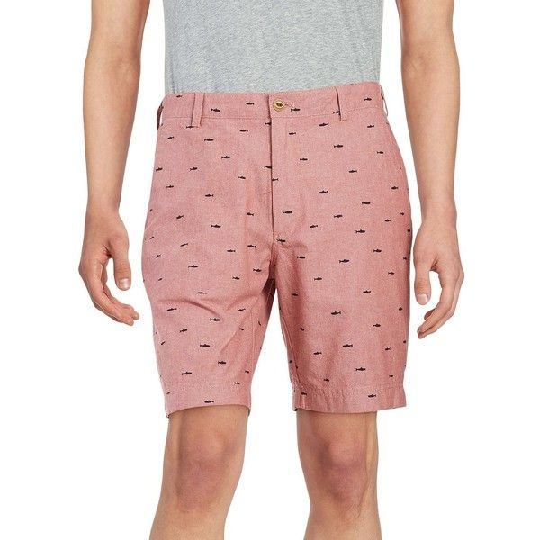 Brooks Brothers  Fleece Shark Chambray Bermuda Shorts ($40) ❤ liked on Polyvore featuring men's fashion, men's clothing, men's shorts, red, mens red shorts, mens bermuda shorts, mens leopard print shorts, mens preppy shorts and preppy mens clothing