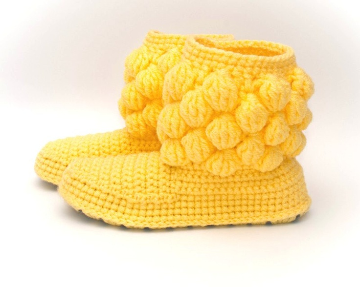 Crochet Women Boots Slippers for the House One-colored Bubbles Yellow Custom Made. €35,00, via Etsy.
