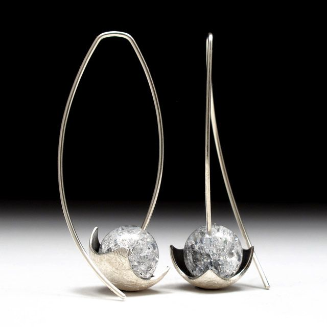 Geoffrey D. Giles Jewelry argentium silver hanging drop designer earrings with quartz.