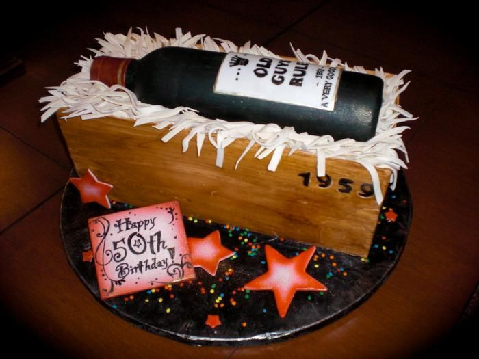 50th Birthday Wine Bottle Cake